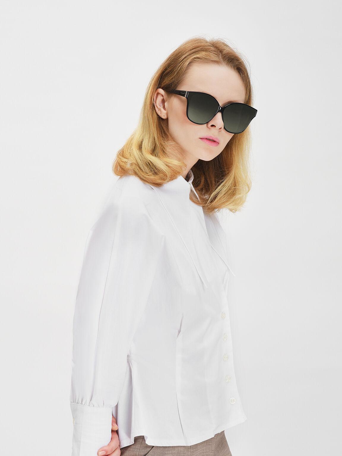 Acetate Frame Sunglasses, Black, hi-res