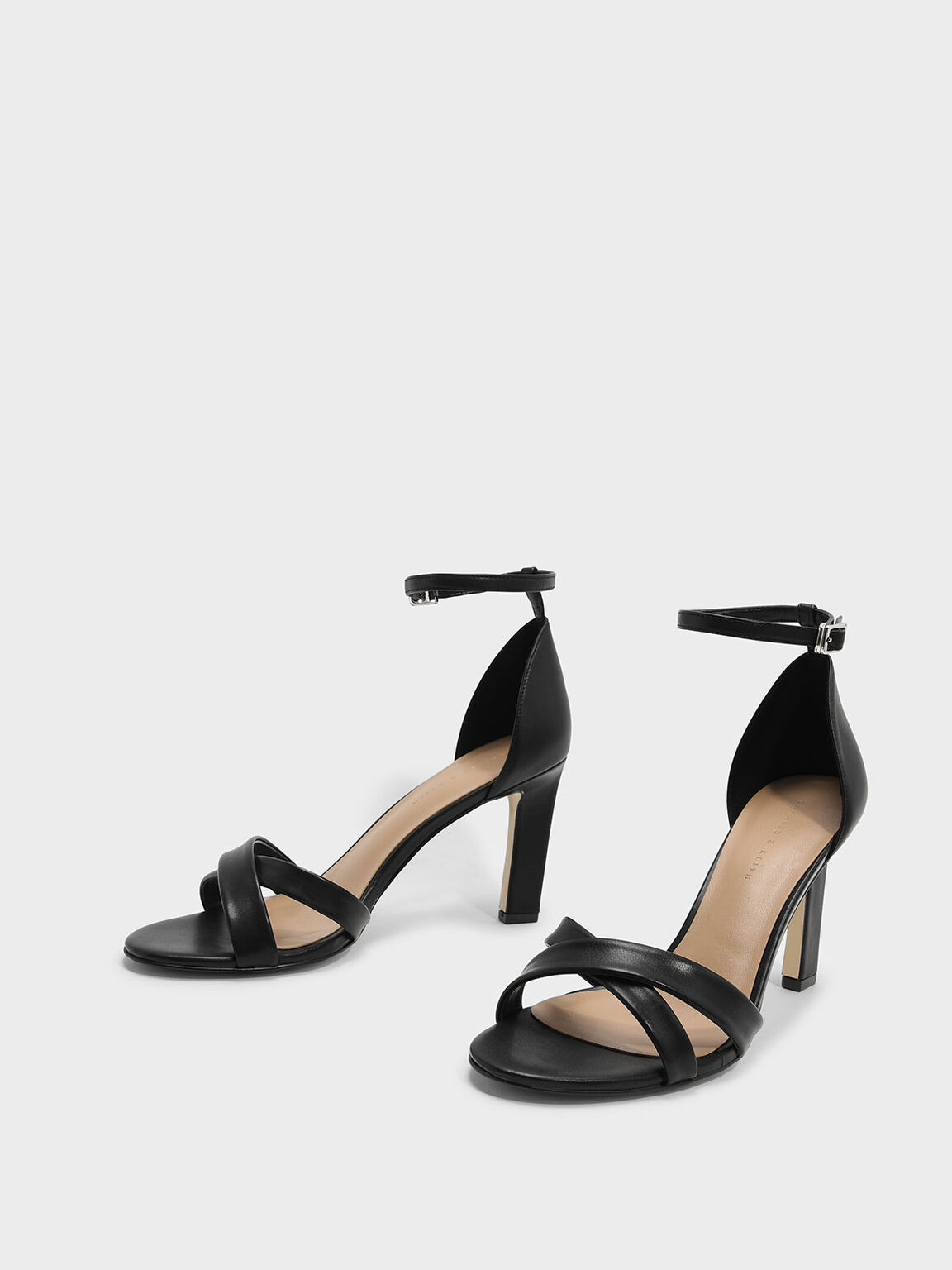 Ankle Strap Criss Cross Heeled Sandals, Black, hi-res