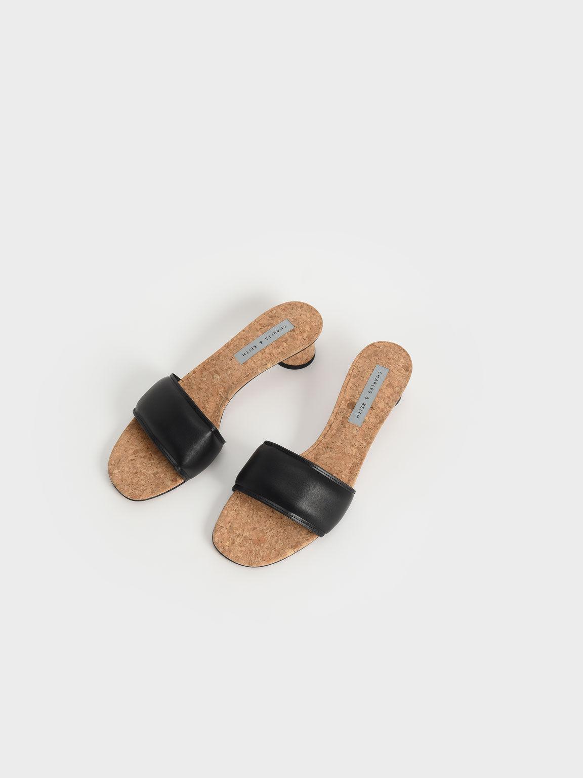 寬帶粗跟拖鞋, 黑色, hi-res