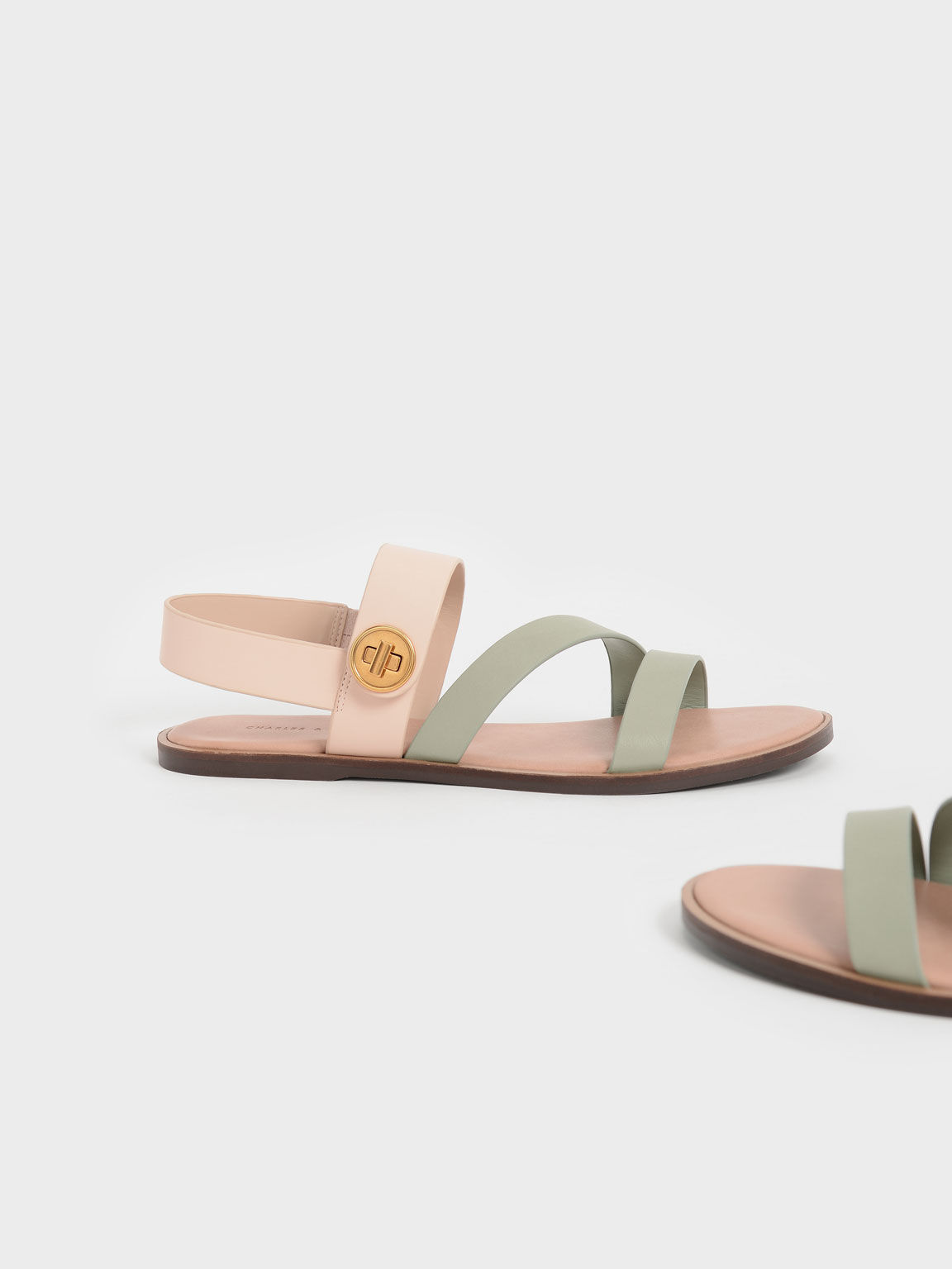 Two-Tone Asymmetric Strappy Sandals, Nude, hi-res