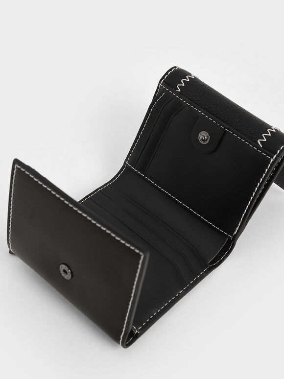 Stitch Trim Turn Lock Wallet, Black, hi-res