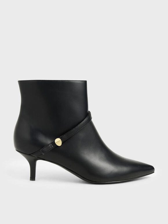 Pointed Toe Ankle Boots, Black, hi-res