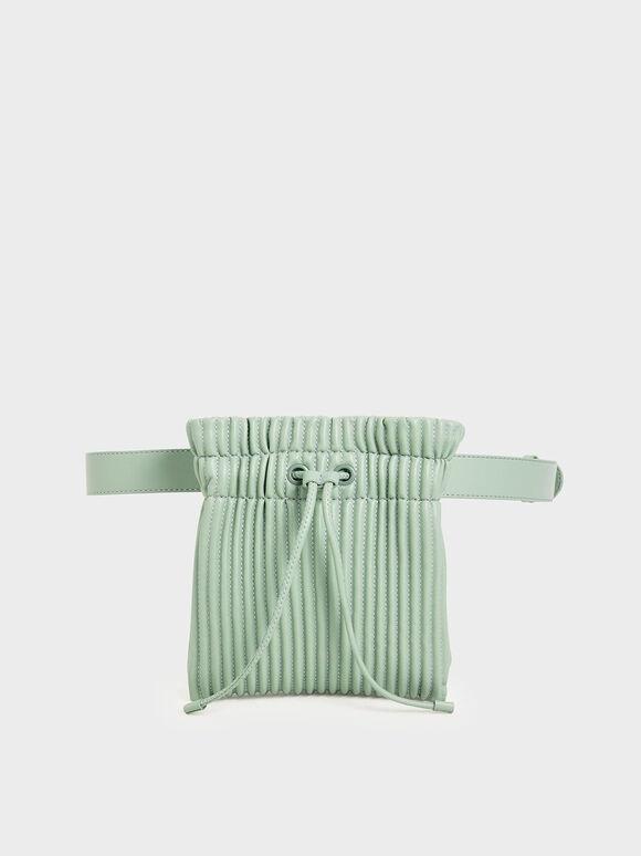 Textured Drawstring Belt Bag, Mint Green, hi-res