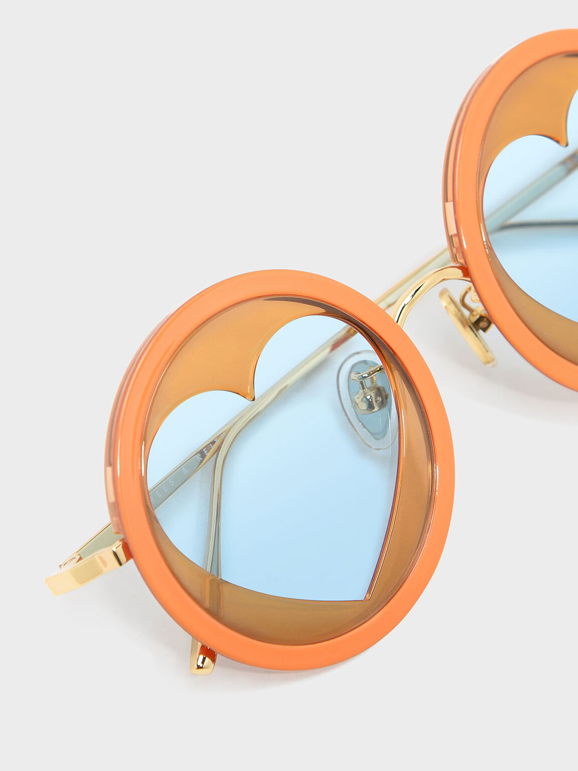Heart-Shaped Frame Sunglasses, Orange, hi-res