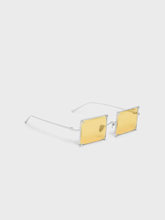 Square Wire Frame Sunglasses, Yellow, hi-res