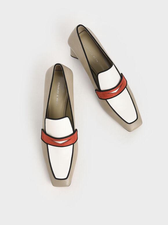 方頭三角跟樂福鞋, 混色, hi-res