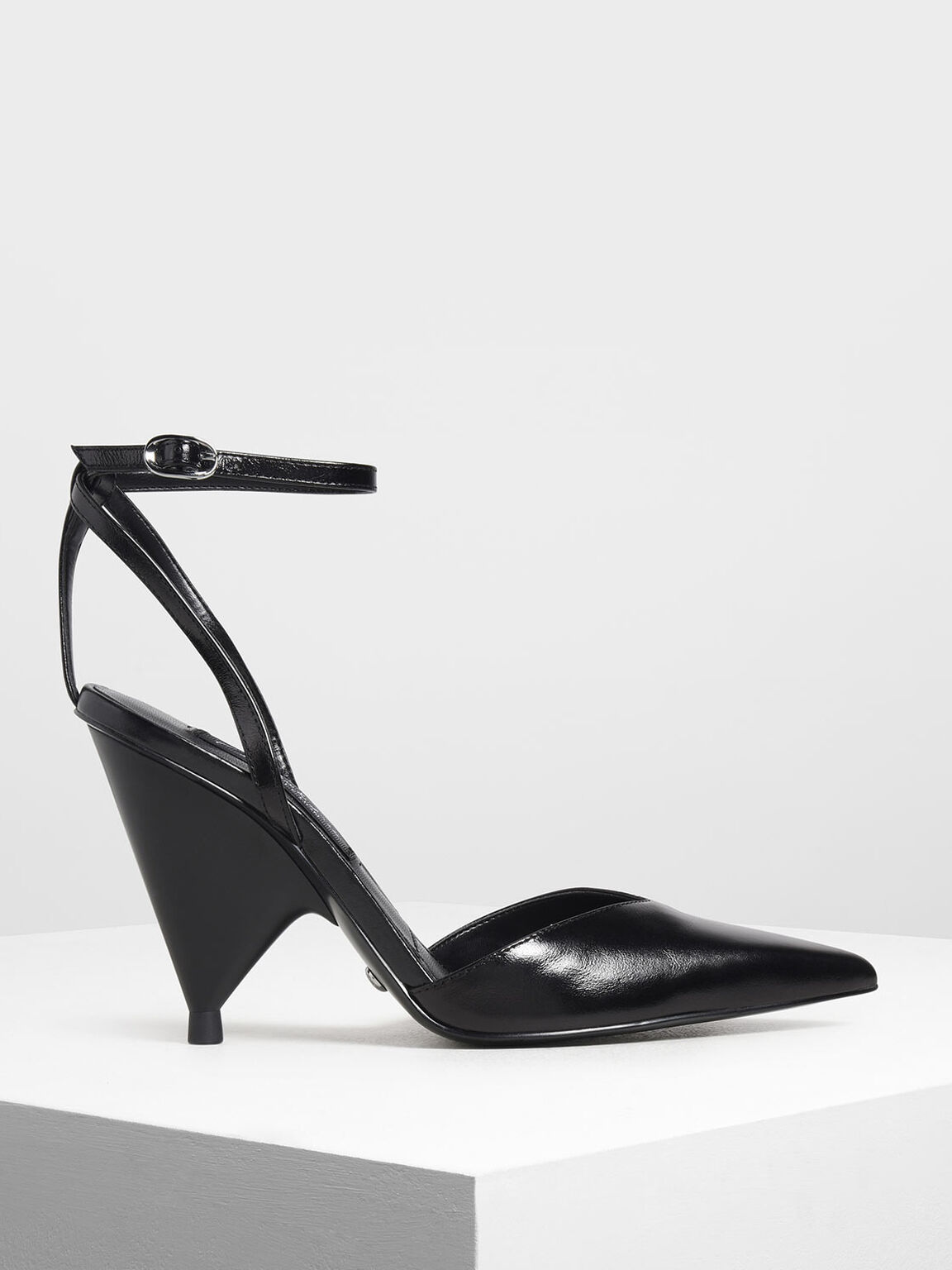 Leather V-Cut Ankle Strap Cone Heels, Black, hi-res