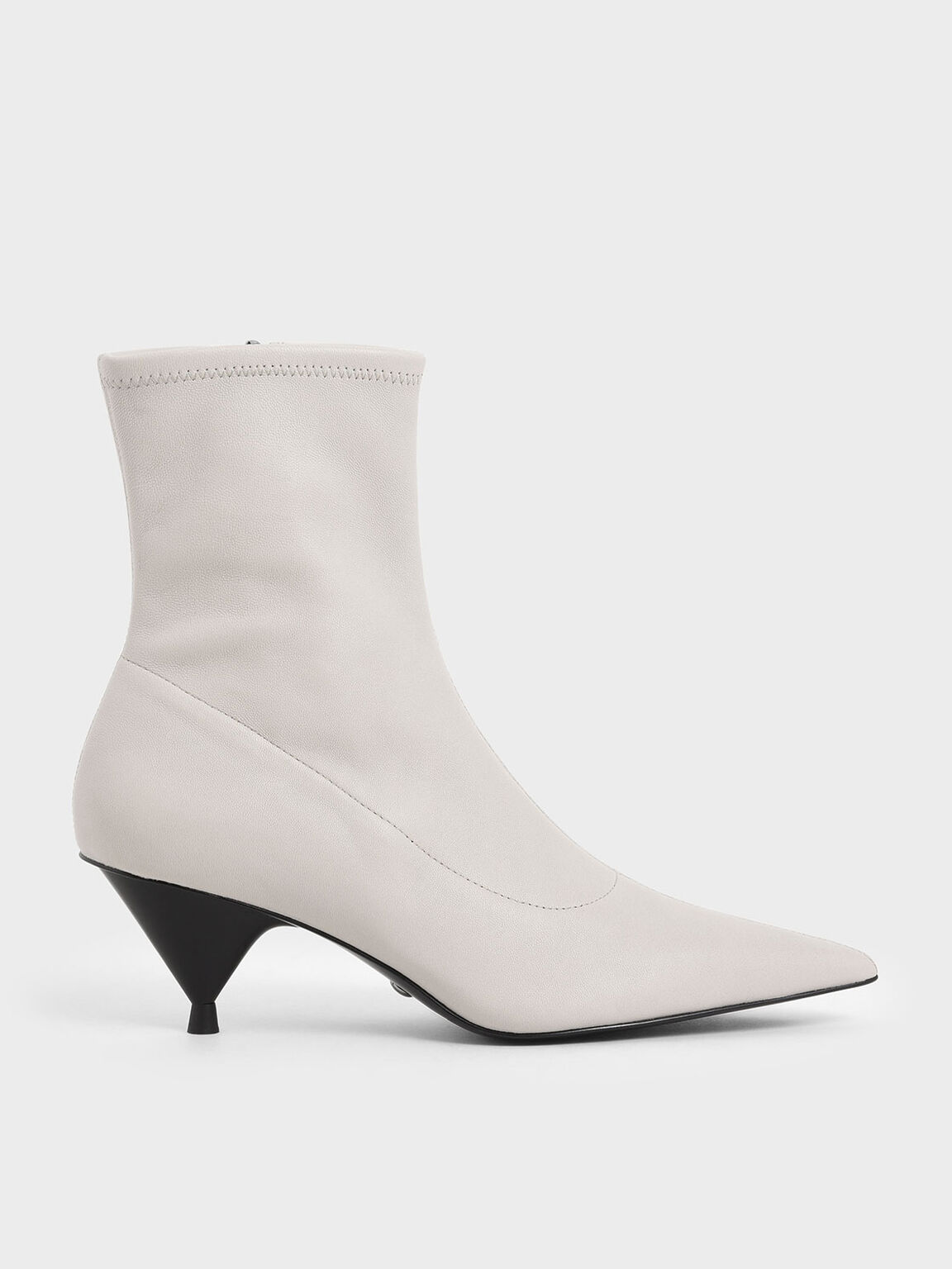 Leather Cone Heel Ankle Boots, White, hi-res