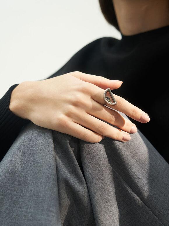 漂浮水晶戒指, 銀色, hi-res