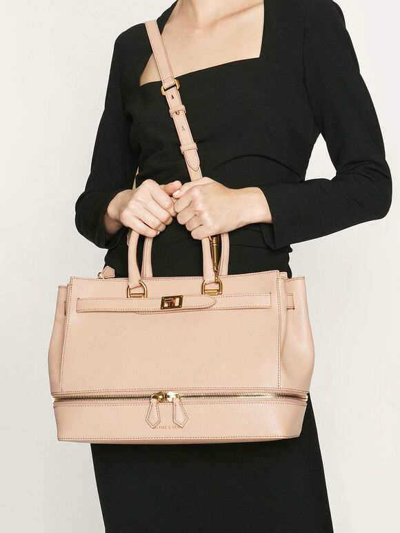Large Two-Way Zip Tote, Beige, hi-res