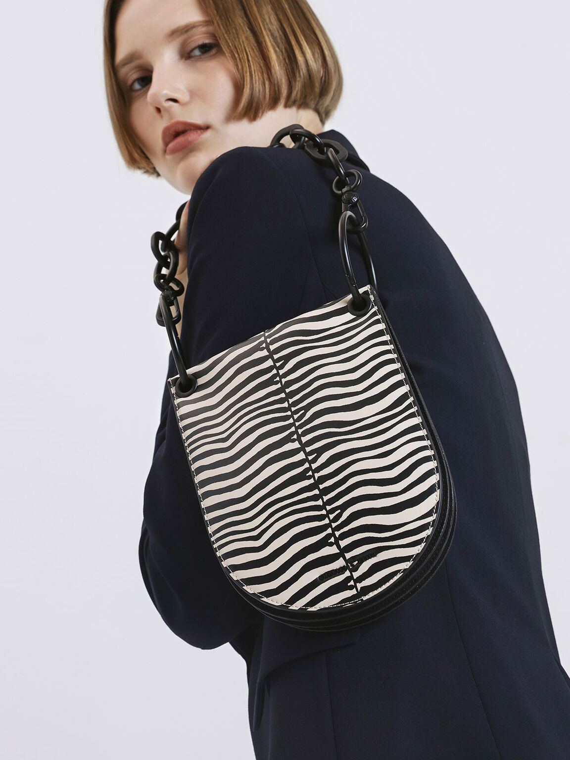 Zebra Print Chunky Chain Handle U-Shaped Bag, Multi, hi-res