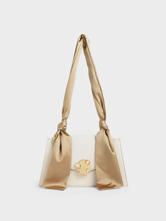Satin Top Handle Croc-Effect Shoulder Bag, Cream, hi-res