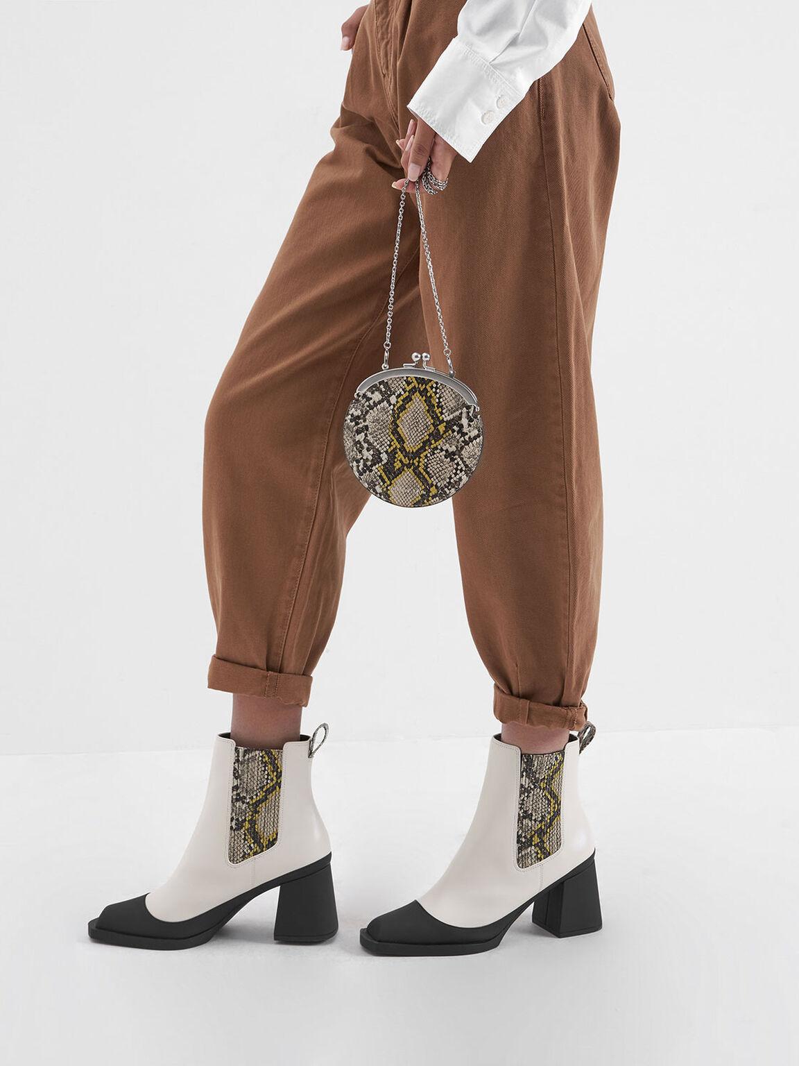 Snake Print Chelsea Boots, Cream, hi-res
