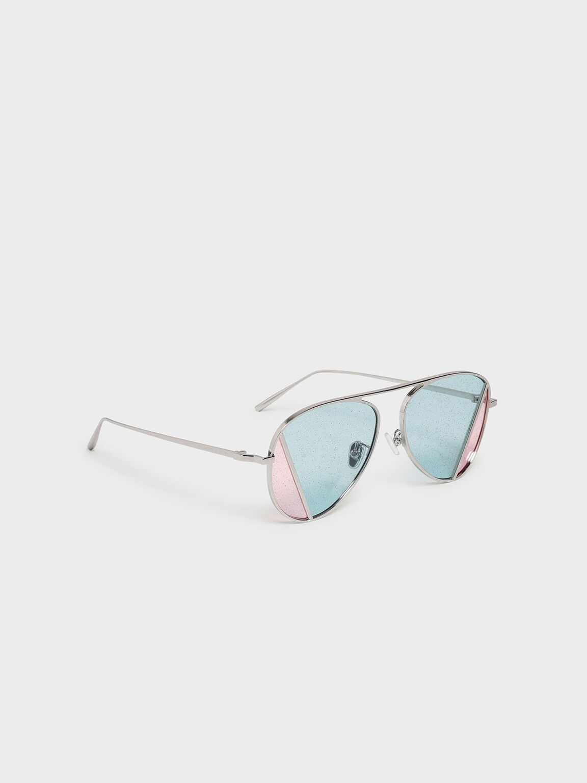 Two-Tone Aviator Sunglasses, Multi, hi-res