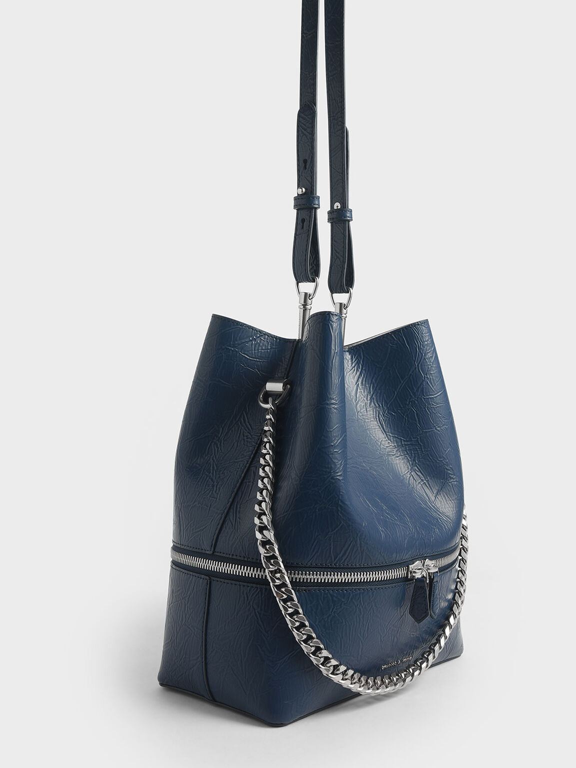 Wrinkled Effect Two-Way Zip Hobo Bag, Blue, hi-res