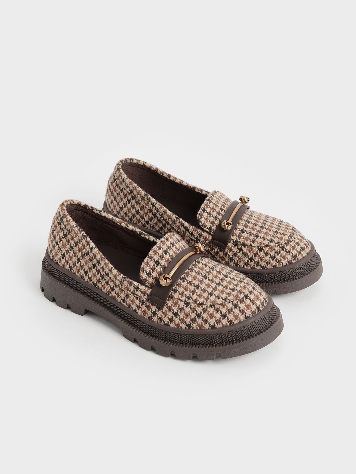 Girls' Houndstooth-Print Metallic Accent Penny Loafers, Multi, hi-res