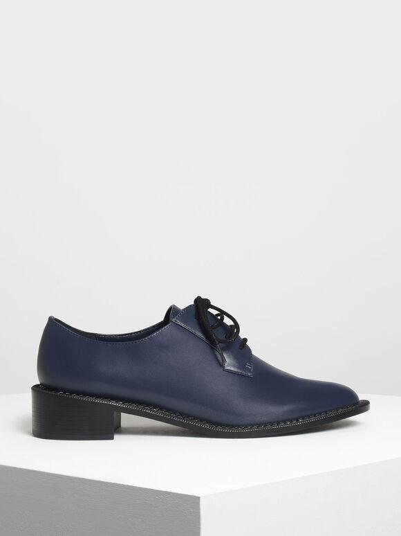 Classic Derby Shoes, Dark Blue, hi-res
