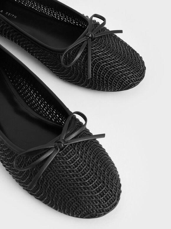 蝴蝶結編織娃娃鞋, 黑色, hi-res
