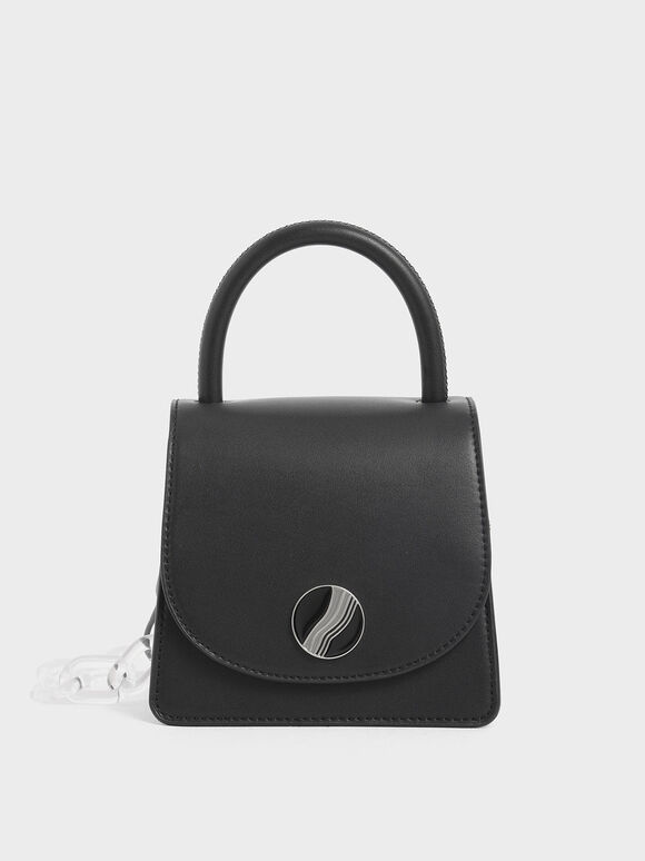 Chunky Chain Handle Mini Bag, Black, hi-res