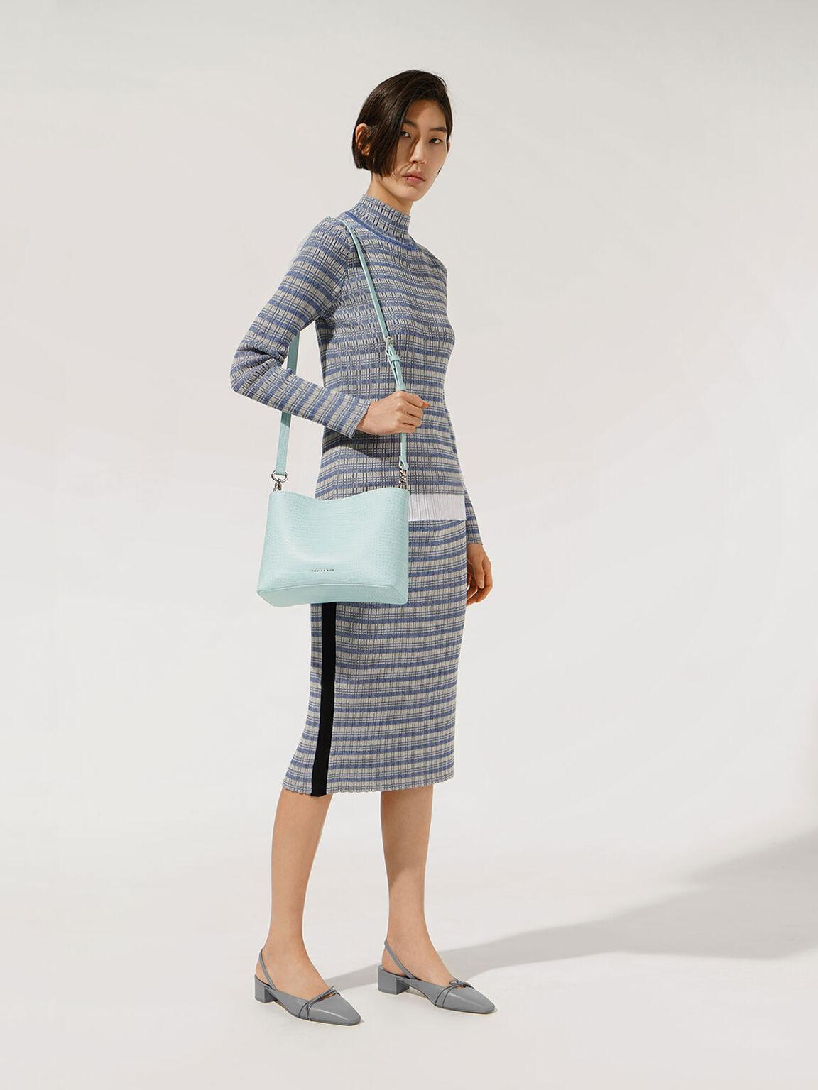 Croc-Effect Acrylic Handle Bucket Bag, Mint Blue, hi-res