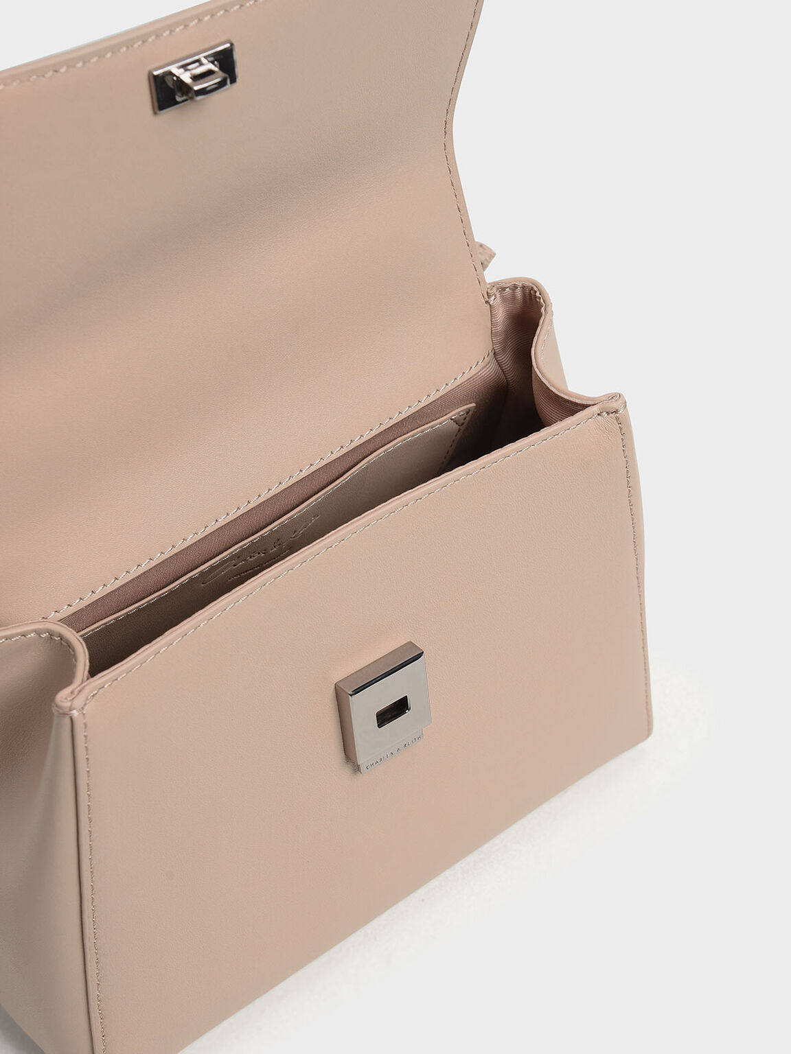 Double Bow Leather Top Handle Bag, Nude, hi-res