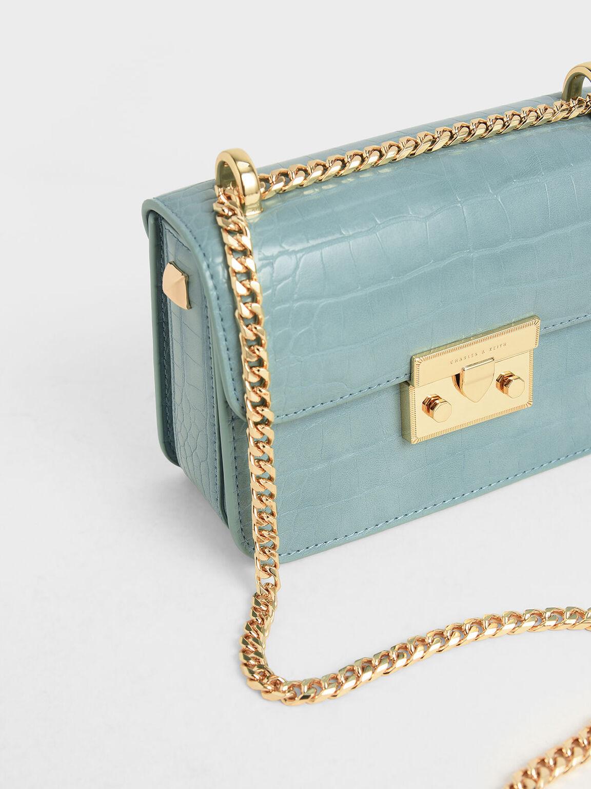 Croc-Effect Chain Strap Crossbody Bag, Blue, hi-res