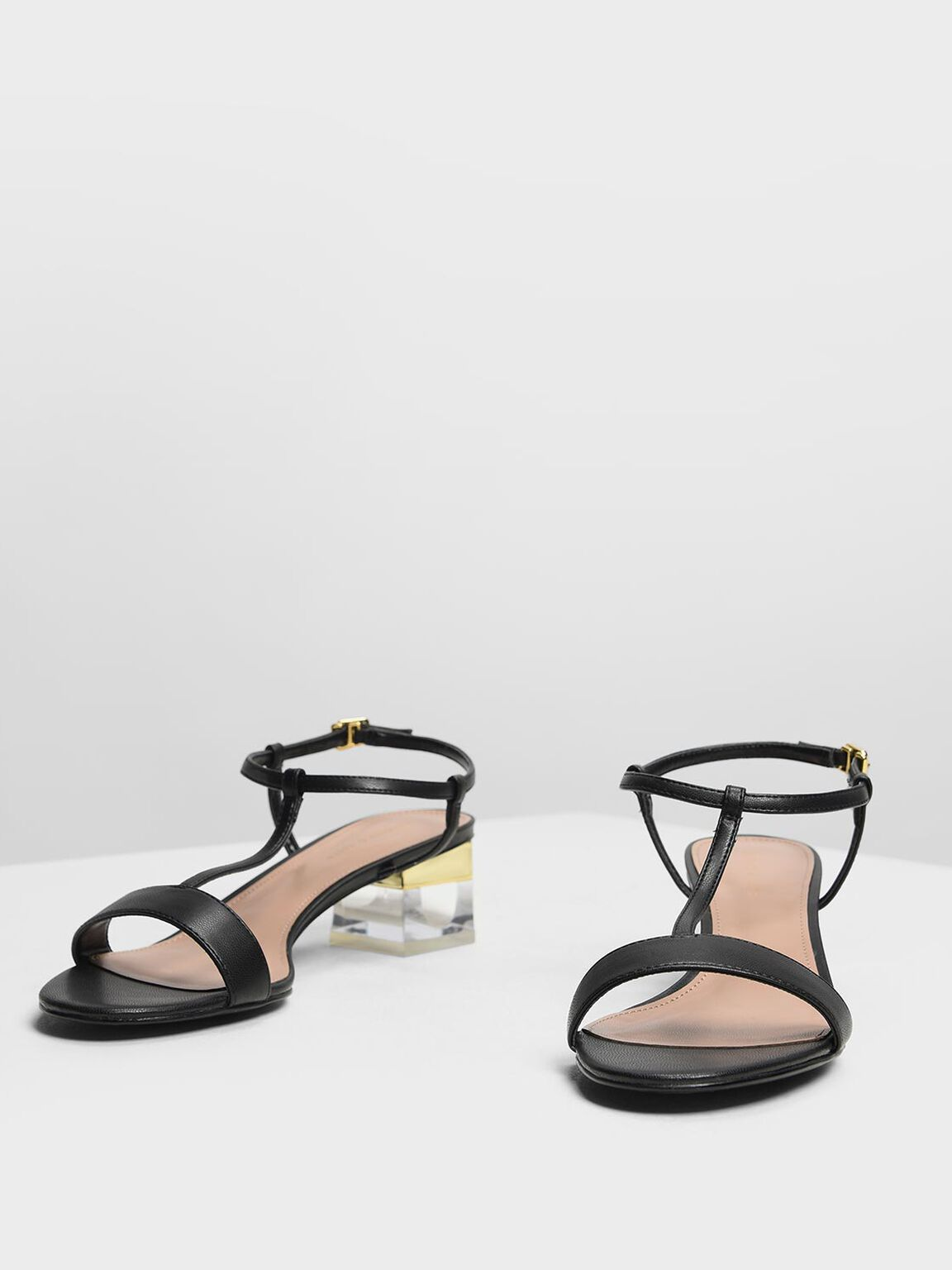 T-Bar Lucite Heel Sandals, Black, hi-res