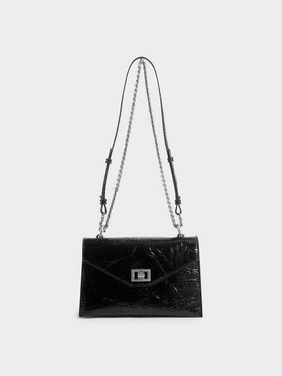 Wrinkled Patent Envelope Bag, Black, hi-res