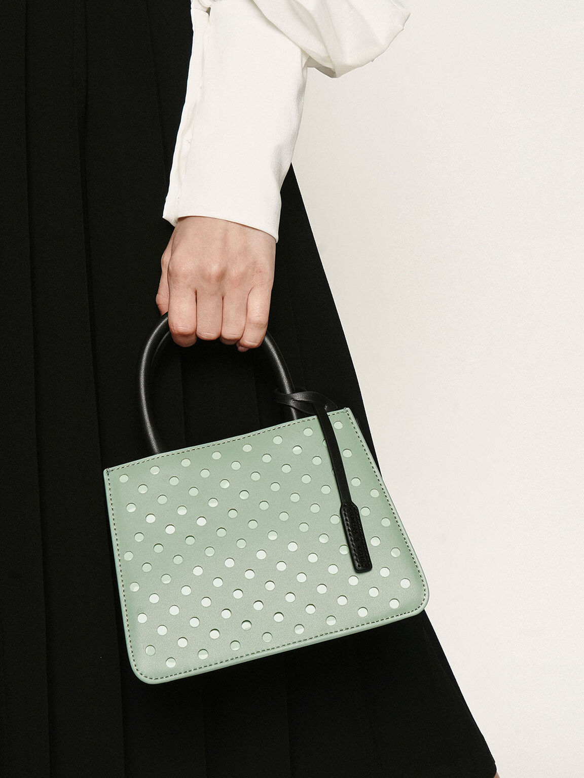 Laser-Cut Handbag, Sage Green, hi-res