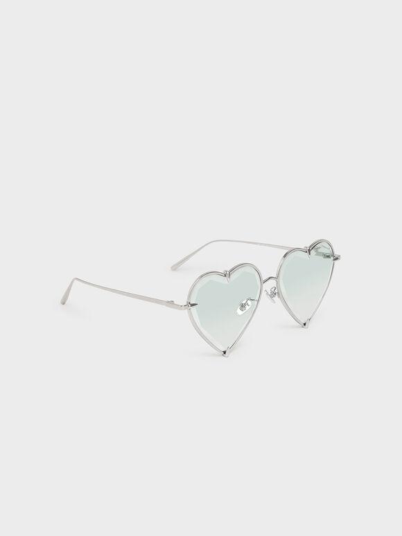 Thin Metal Frame Heart-Shaped Sunglasses, Multi, hi-res