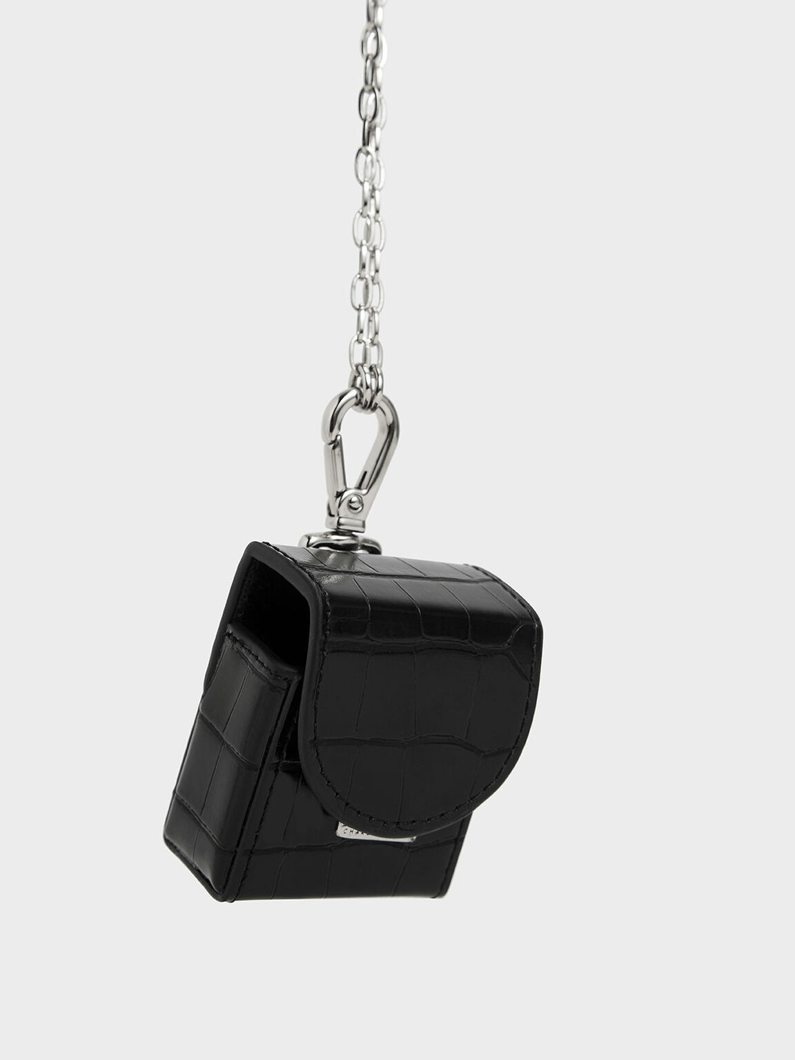 Croc-Effect AirPods Case Necklace, Black, hi-res