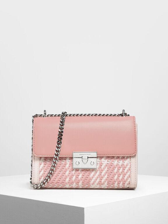 Woven Detail Clutch, Light Pink
