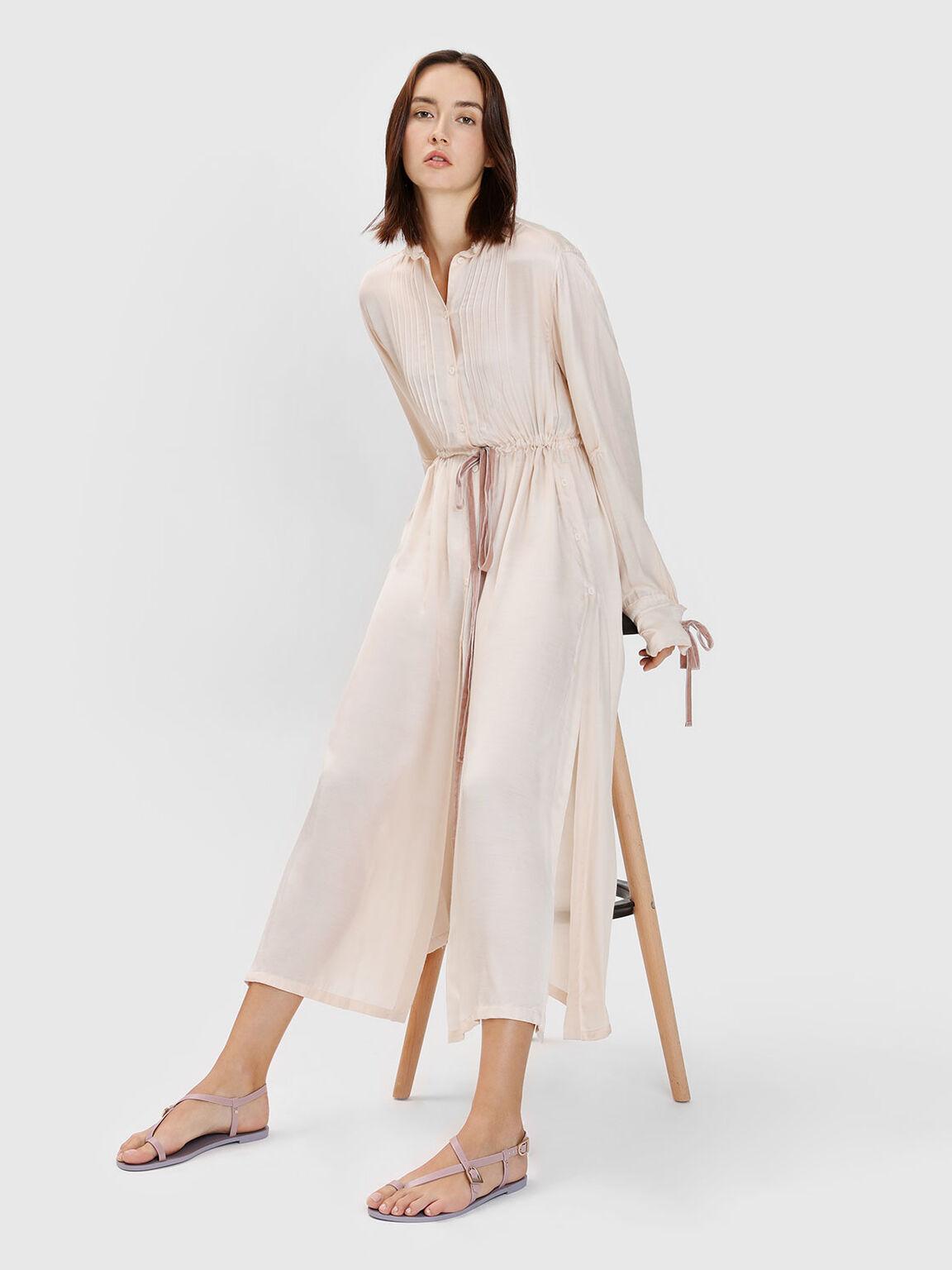 Asymmetrical Strap Thong Sandals, Pink, hi-res