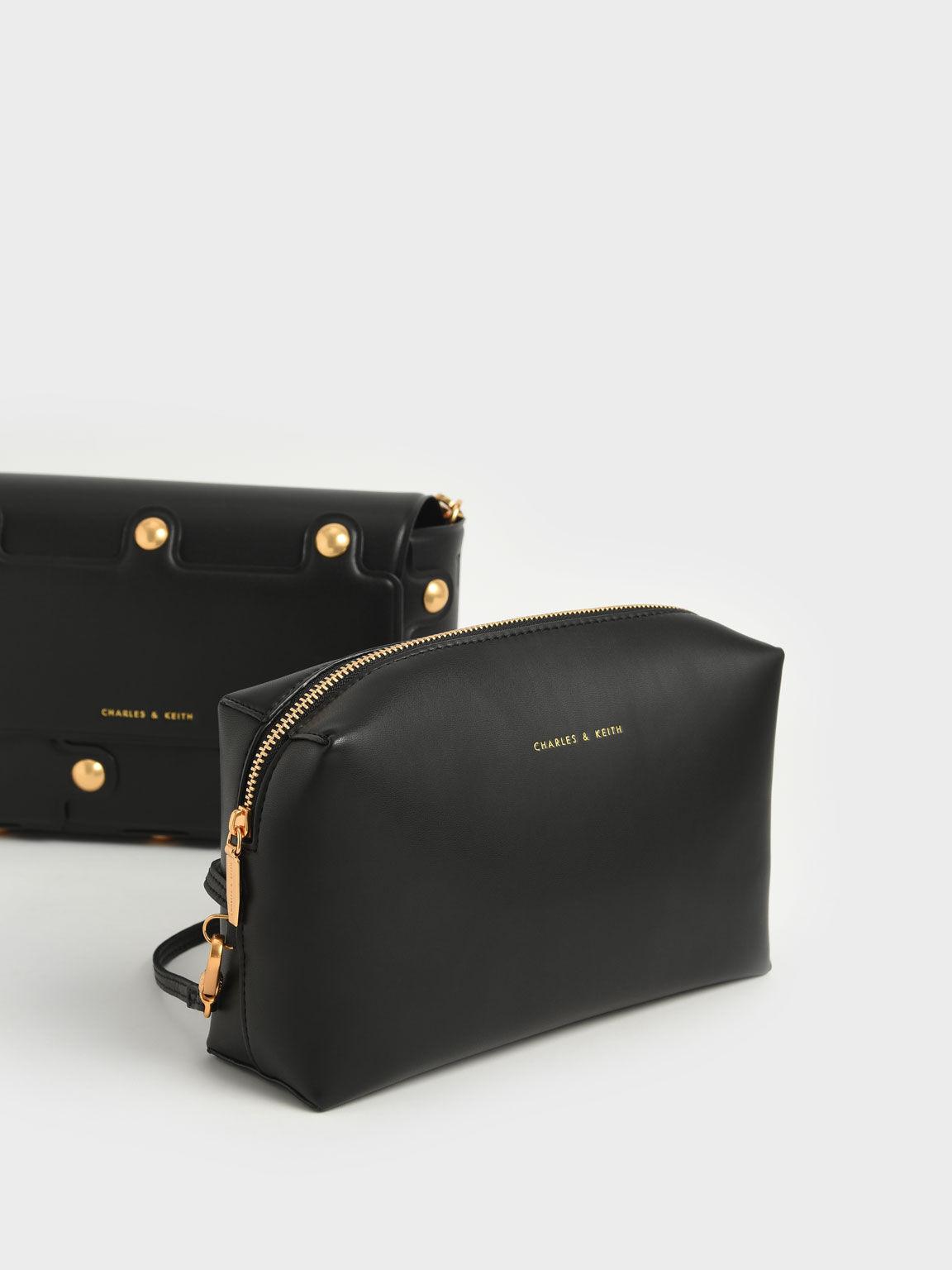 Studded Shoulder Bag, Black, hi-res