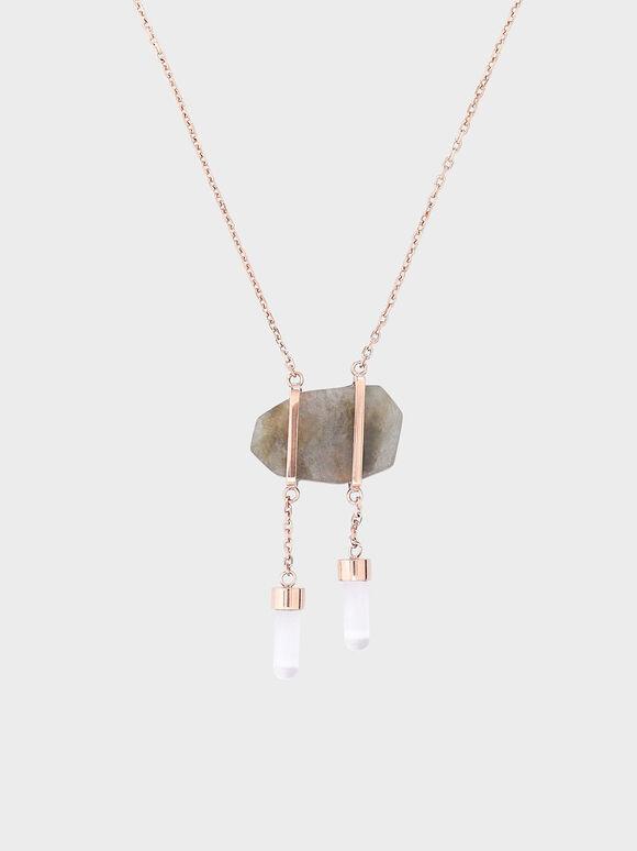 Labradorite Stone Necklace, Rose Gold, hi-res
