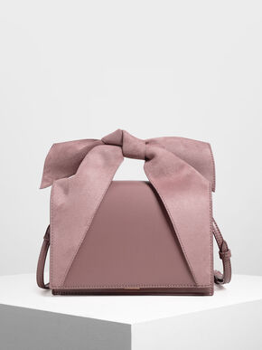 Bow Top Handle Bag, Mauve