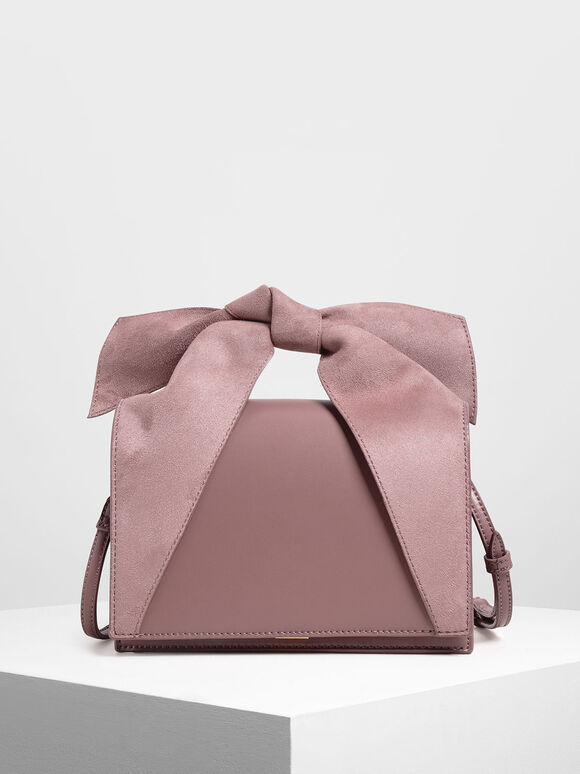 Bow Top Handle Bag, Mauve, hi-res