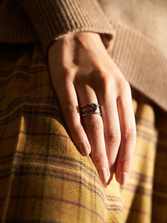 Crystal Embellished Caged Ring, Silver, hi-res