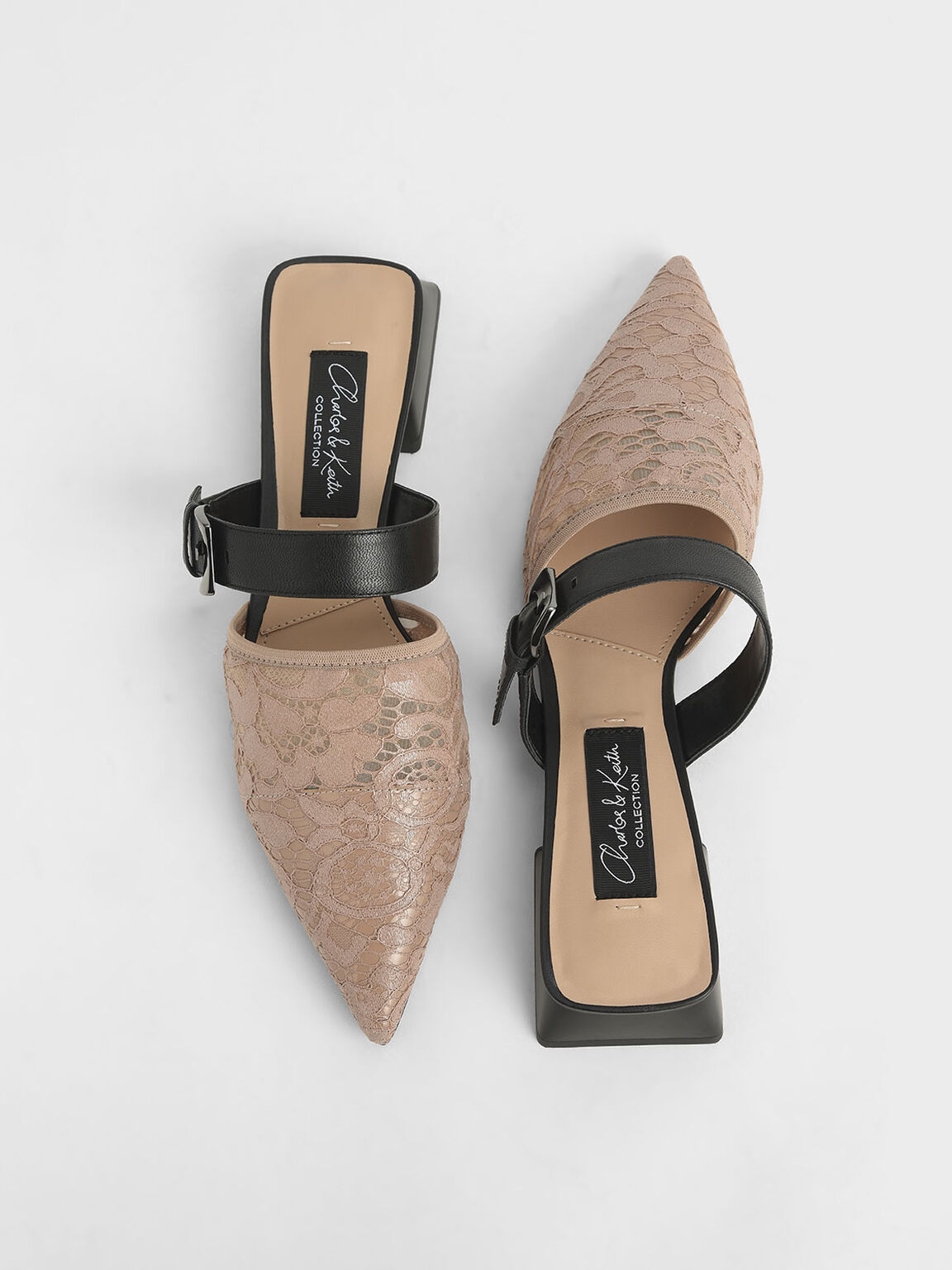 Leather Lace Pointed Mules, Nude, hi-res