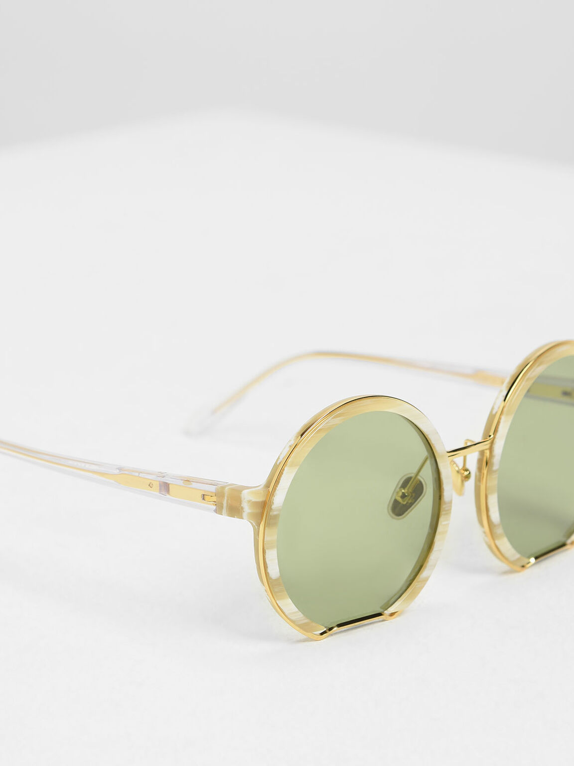 Cut Off Frame Round Sunglasses, Cream, hi-res