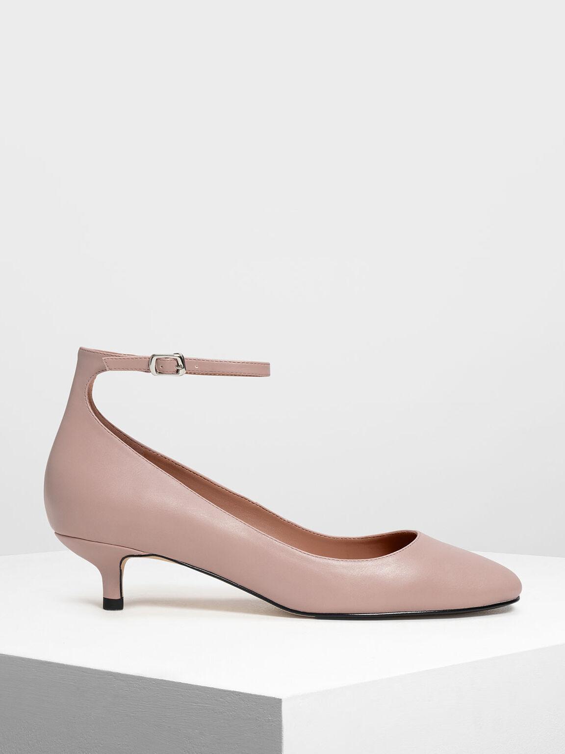 Round Toe Ankle Strap Pumps, Blush, hi-res
