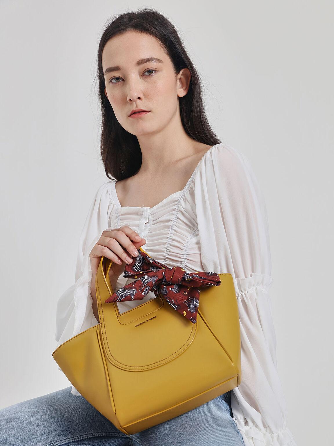 Printed Bow Trapeze Bag, Yellow, hi-res
