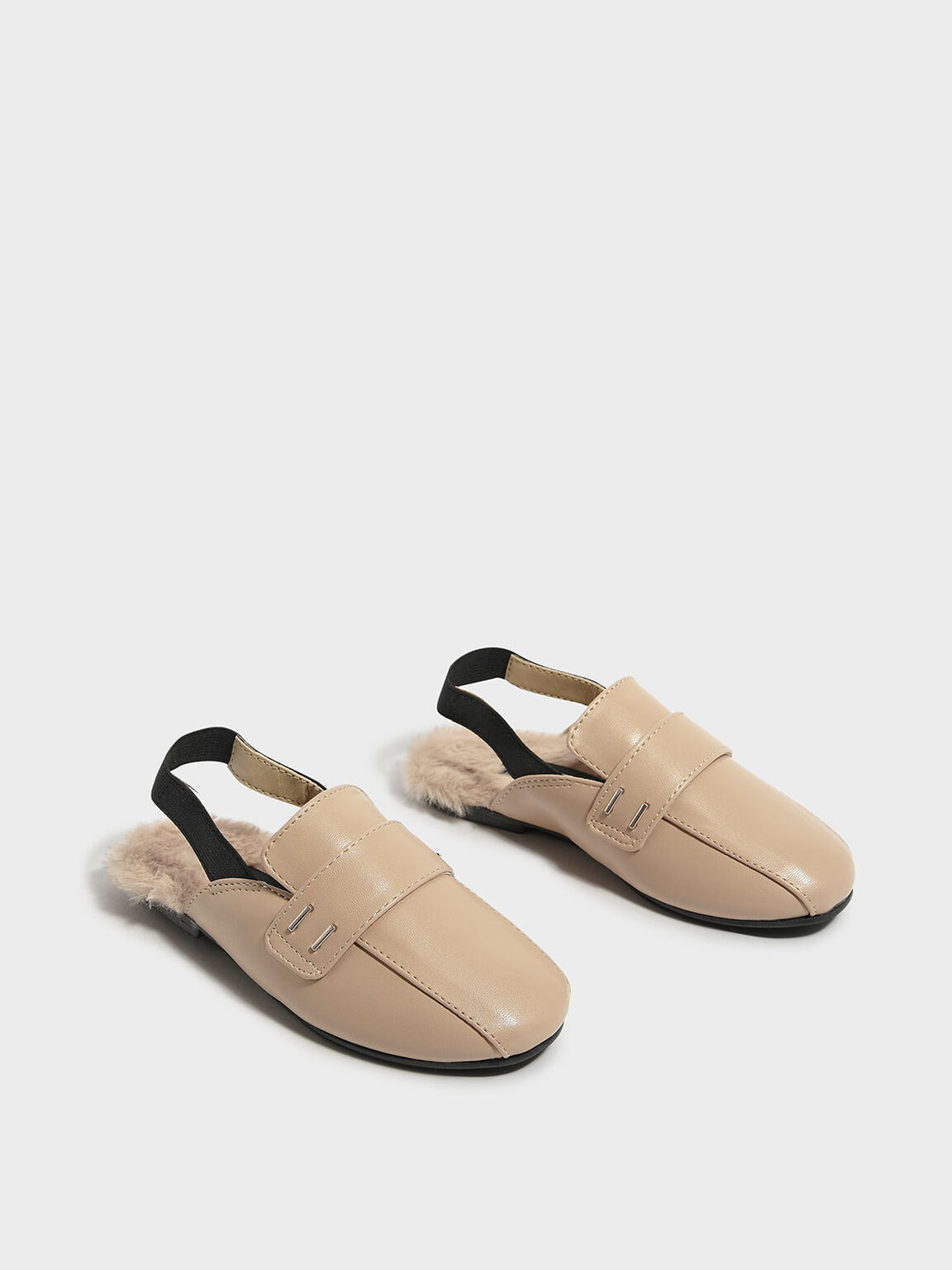 Kids Furry Detail Slingbacks, Nude, hi-res