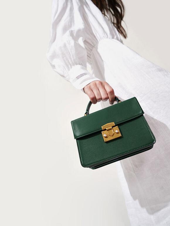 珍珠鑲嵌手提包, 綠色, hi-res