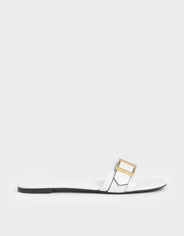 Cream Frame Buckle Slide Sandals