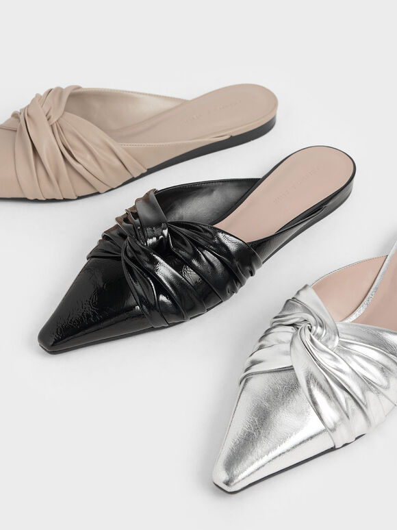 抓皺扭結拖鞋, 黑色, hi-res