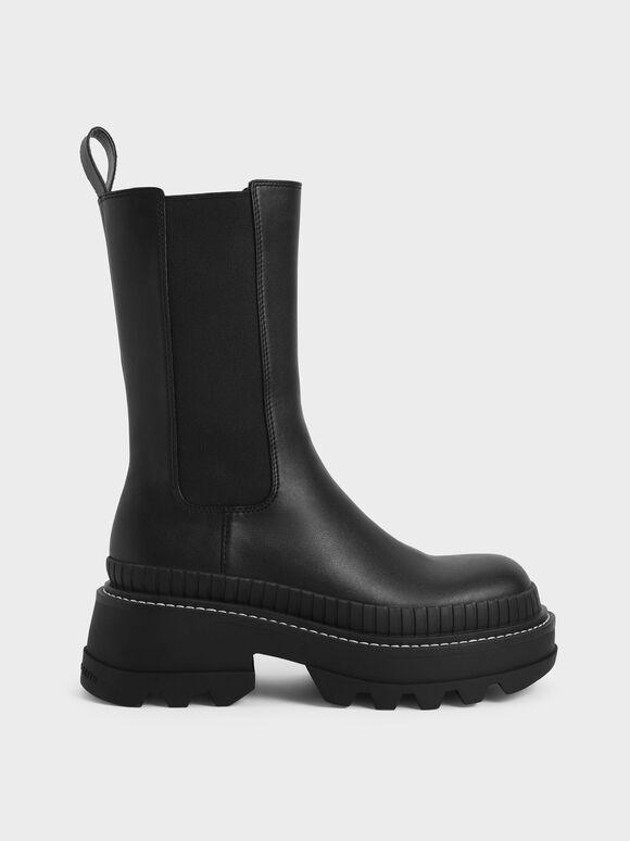 Rhys 厚底切爾西靴, 黑色, hi-res