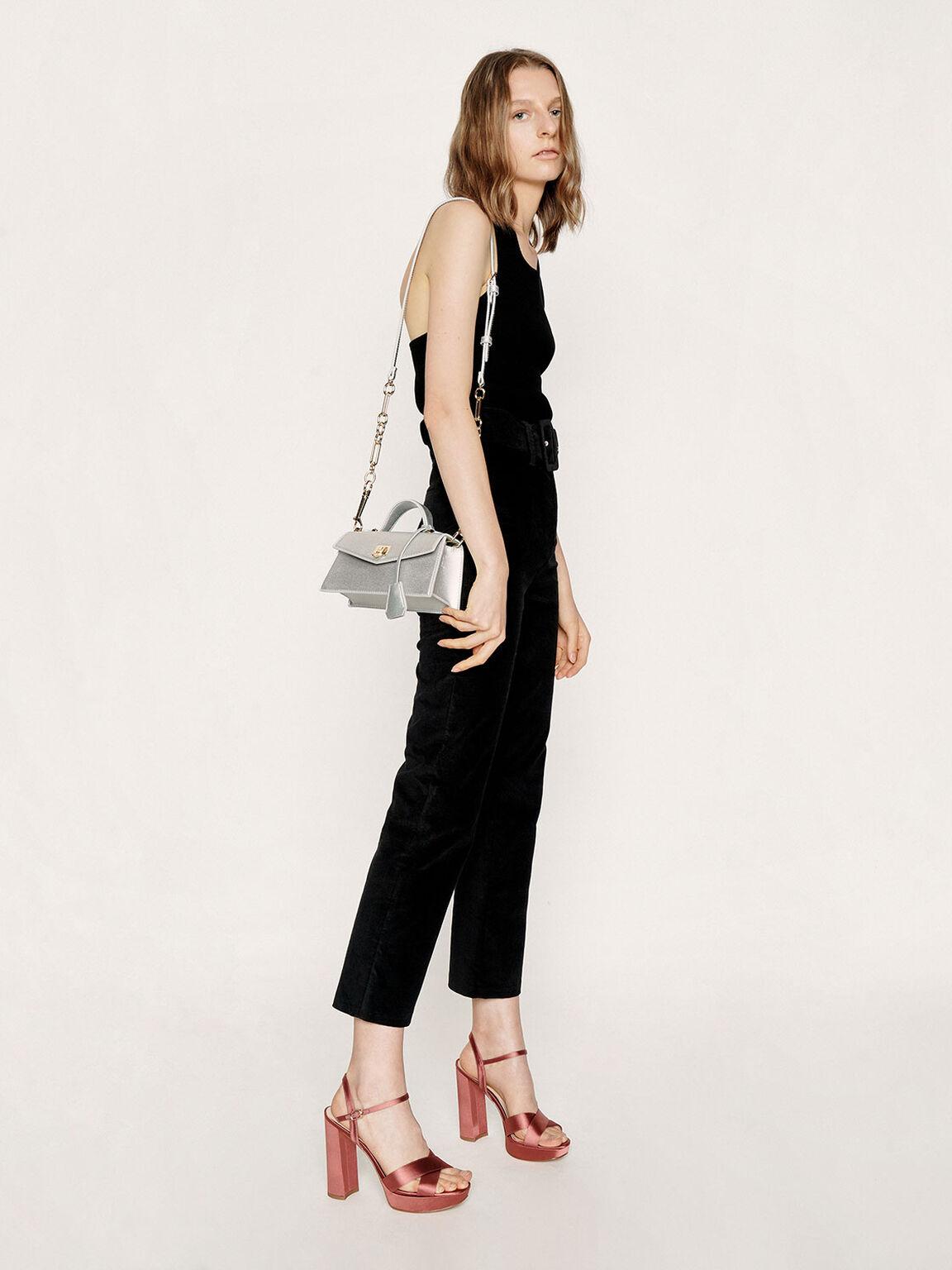 Top Handle Trapeze Bag, Silver, hi-res