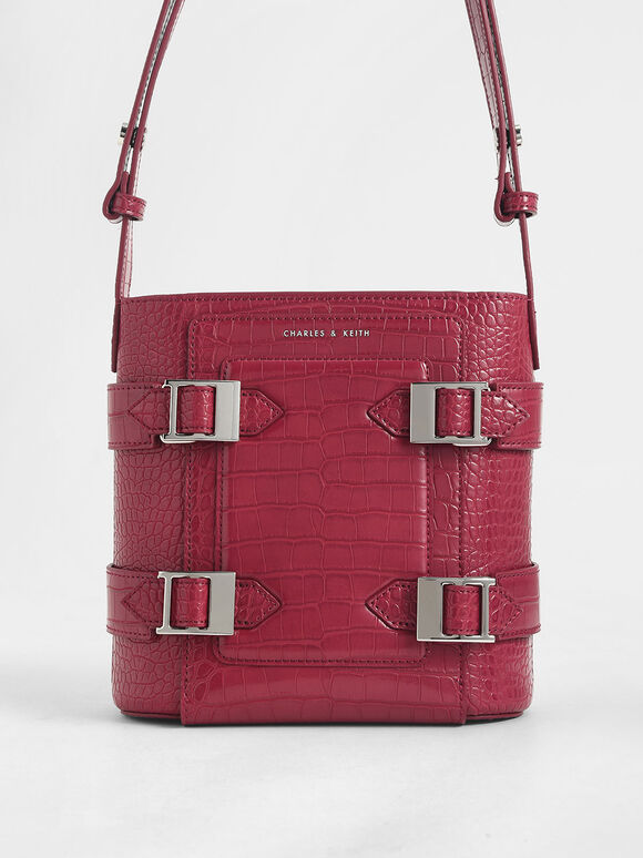 Croc-Effect Buckle Bucket Bag, Berry, hi-res