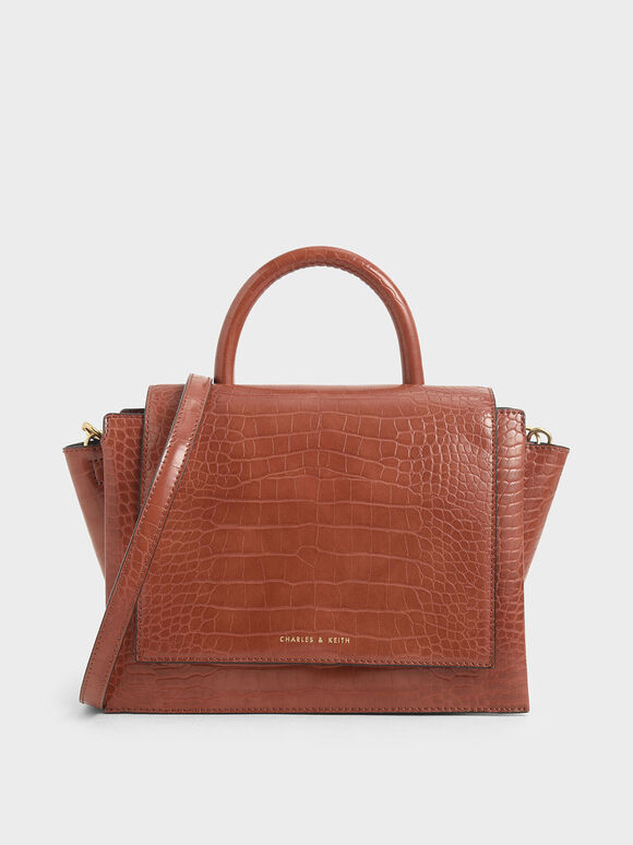 Croc-Effect Top Handle Trapeze Bag, Clay, hi-res